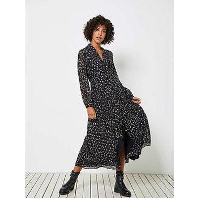 Mint Velvet Miley Foil Print Tie Neck Midi Dress - Black