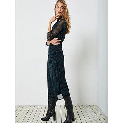 Mint Velvet Lyra Star Print Ruched Detail Mesh Dress - Black