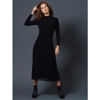 Mint Velvet Studded Midi Dress - Black