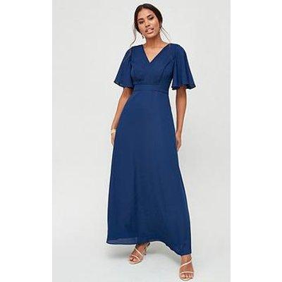 V By Very Bridesmaids Pleated Maxi Dress - Navy