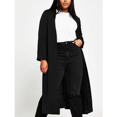 Ri Plus Collarless Tie Waist Duster - Black
