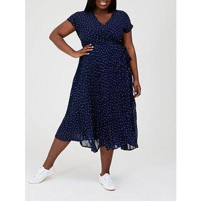 V By Very Curve Pleated Skirt Midi Dress - Navy Spot