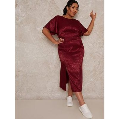 Chi Chi London Curve Fridia Dress - Burgundy