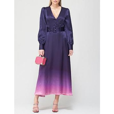 Olivia Rubin Victoria Silk Dip Dye Midi Dress - Navy