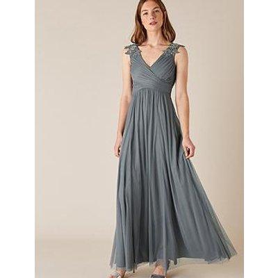 Monsoon Mischa Mesh Embellished Maxi Dress - Blue