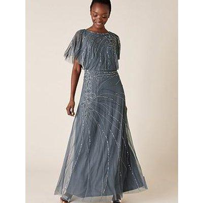 Monsoon Autumn Embellished Cape Maxi Dress - Blue