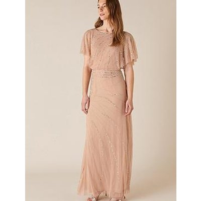 Monsoon Autumn Embellished Cape Maxi Dress - Pink