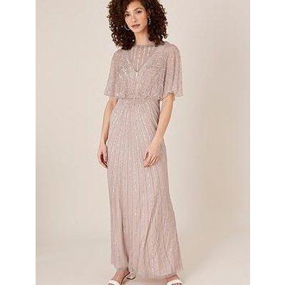 Monsoon Taylor Sustainable Embellished Maxi Dress - Pink