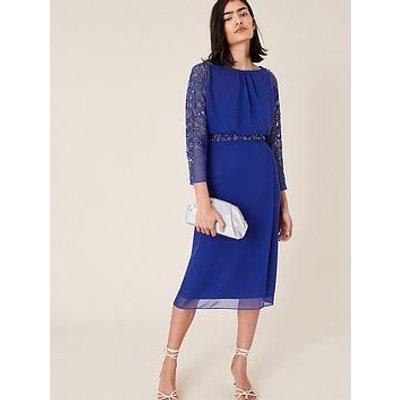 Monsoon Clover Embellished Dress - Cobalt