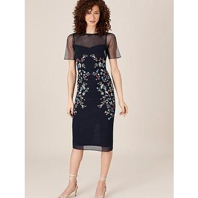 Monsoon Eva Sustainable Embroidered Shift Dress - Navy