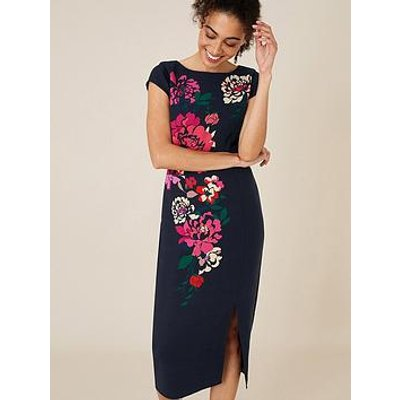 Monsoon Pippa Floral Print Shift Dress - Navy