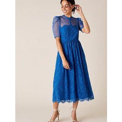 Monsoon Trisha Lace Button Through Midi Dress - Blue