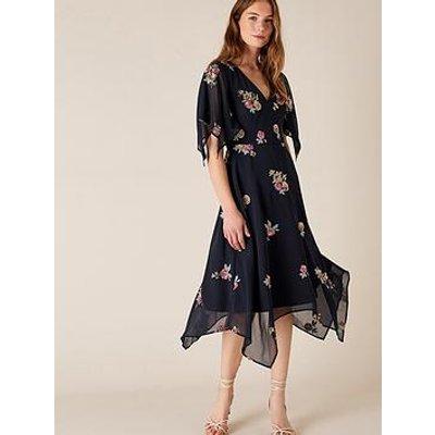 Monsoon Nigella Sustainable Hanky Hem Dress - Navy