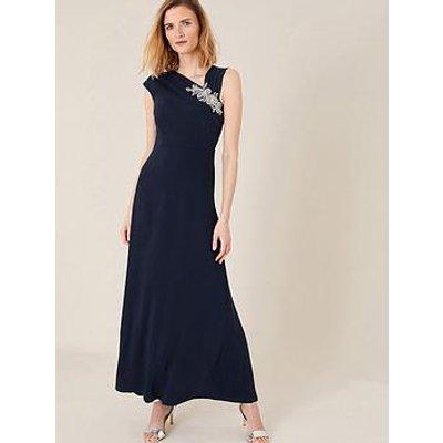 Monsoon Maya Brooch Maxi Dress - Navy