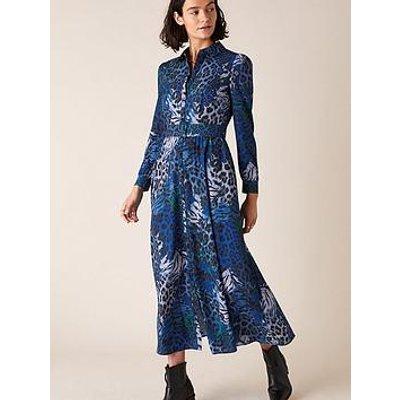 Monsoon Andrea Animal Shirt Dress - Cobalt