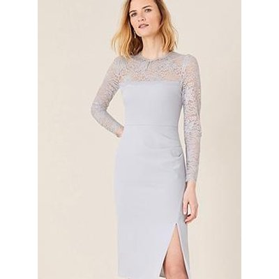 Monsoon Carey Sustainable Lace Shift Dress - Grey
