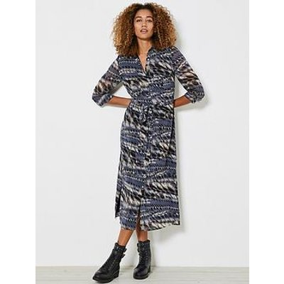 Mint Velvet Mika Print Shirt Midi Dress - Dark Blue