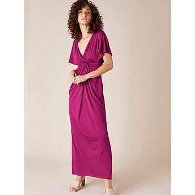 Monsoon Jessica Jersey Short Sleeve Maxi Dress - Berry