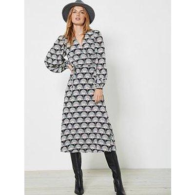Mint Velvet Jude Print Wrap Midi Dress - Black