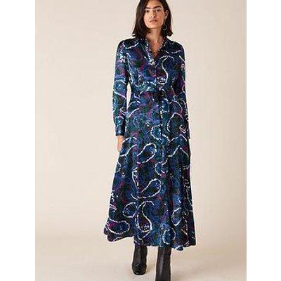 Monsoon Paisley Print Satin Shirt Dress - Navy