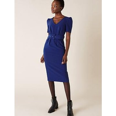 Monsoon Stephanie Sustainable Belted Shift Dress - Cobalt