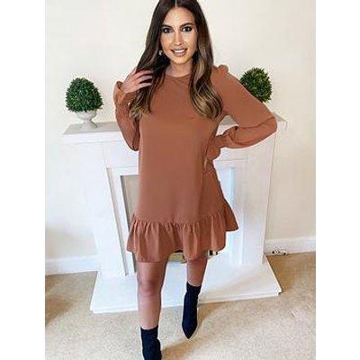 Ax Paris Petite Long Sleeve Frill Shift Dress - Camel