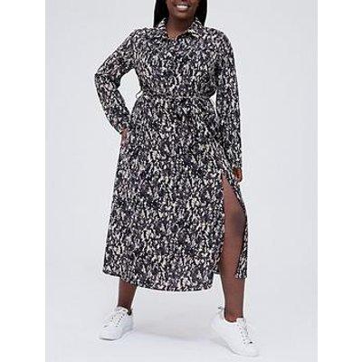 Ax Paris Curve Printed Split Shirt Dress - Printed
