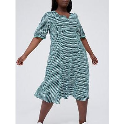 Tommy Hilfiger Curve Printed V-Neck Midi Dress - Turquoise