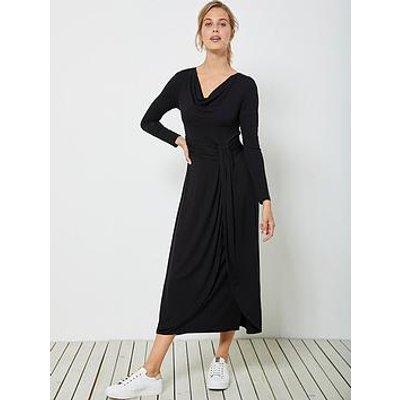 Mint Velvet Mint Velvet Black Twist Jersey Midi Dress