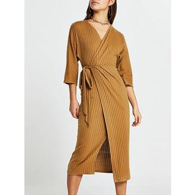 Ri Petite Cosy Jersey Wrap Dress - Camel
