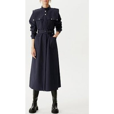 Gestuz Flavia Belted Cotton Midi Dress - Navy