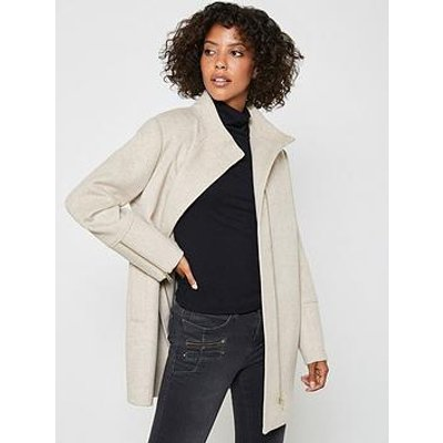 Mint Velvet Funnel Neck Zip Coat - Camel