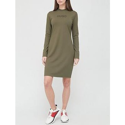 Hugo Dassy Long Sleeved Jersey Dress - Khaki