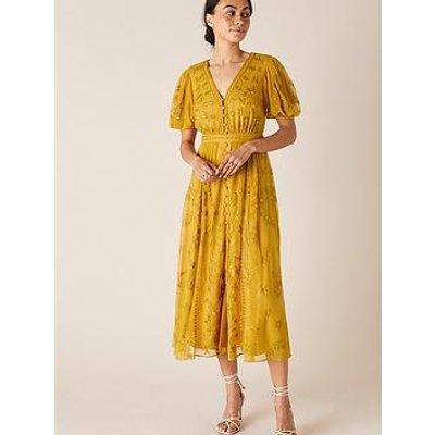 Monsoon Valerie Embellished Tea Dress - Mustard