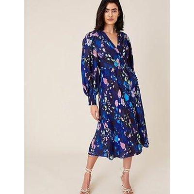Monsoon Anita Animal Wrap Dress - Navy