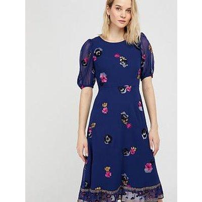 Monsoon Sustainable Embroidered Tea Dress - Navy