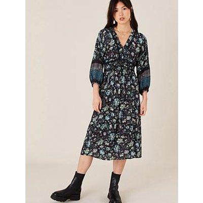 Monsoon Black Floral Printed Midi Dress - Black