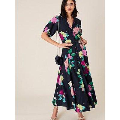 Monsoon Una Floral Printed Shirt Dress - Navy