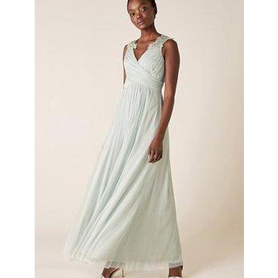 Monsoon Mischa Mesh Embellished Maxi Dress - Green