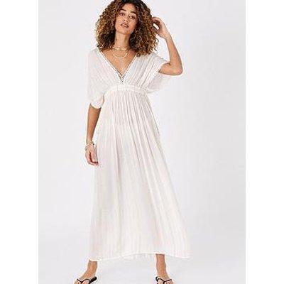 Accessorize Lurex Maxi Kaftan Dress - Cream