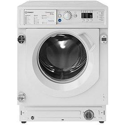 Indesit Biwdil861284 Built-In 1200 Spin, 8Kg Wash, 6Kg Dry Washer Dryer - White - Washer Dryer With Installation