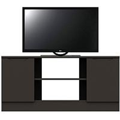 Bilbao Ready Assembled High Gloss Corner Tv Unit - Graphite - Fits Up To 46 Inch Tv