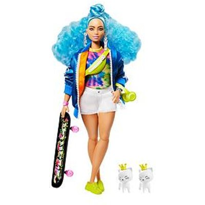 Barbie Extra Doll With Blue Curly Hair And Skateboard