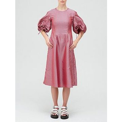 Paper London Orchid Statement Sleeve Midi Dress - Pink/Red