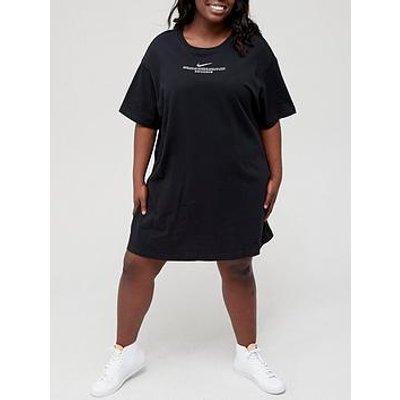 Nike Nsw Curve Swoosh Short Sleeved Dress - Black
