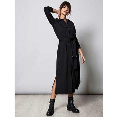 Mint Velvet Ponte Jersey Shirt Dress - Black