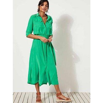 Mint Velvet Pocket Detail Belted Midi Shirt Dress - Green