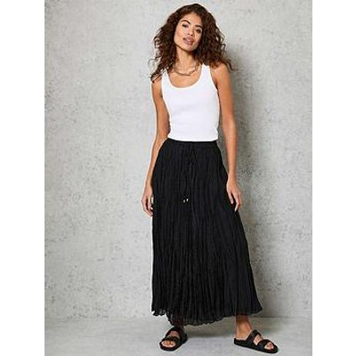 Mint Velvet Crinkle Maxi Skirt - Black