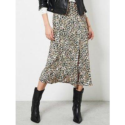 Mint Velvet Maeve Floral Print Slip Skirt - Khaki