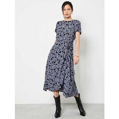 Mint Velvet India Floral Print Wrap Midi Dress - Blue